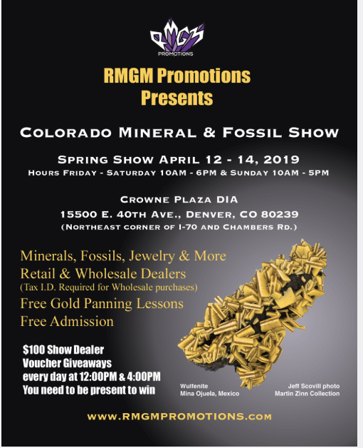 Welcome to the 2019 Denver Gem & Mineral (Spring) Showcase!