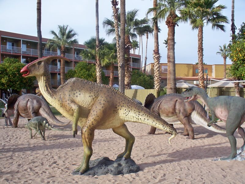 The Land That Time Forgot!!!  ....not!  The Arizona Mineral & Fossil Show at the Hotel Tucson City Center has a huge array of goods from fine designer jewelry and gems in the Design Center above the Lobby to Gem sculptures and Dinosaurs around the pool.