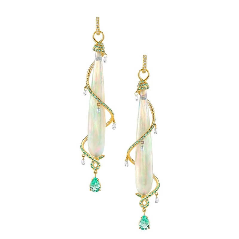 """Each year the Design Pavilion features the Winners of the AGTA Spectrum and Cutting Edge Awards....above Erica Courtney Jewelry's """"Milky Way"""" earrings won 2nd Place in Evening Wear during the 2015 Spectrum Awards."""