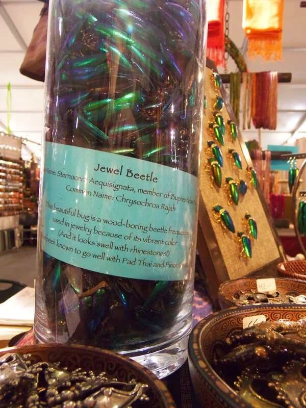Here's an unusual offering....at the Bead Goes On booth you can purchase Beetle Wings, and all the parts you need to build your own Jeweled Beetle jewelry.