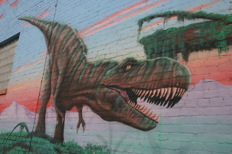 Murals like this one can be seen in the mineral and fossil district along Main Avenue in Tucson.