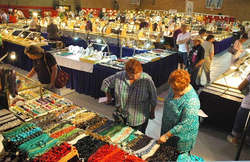 "Five gem and mineral shows are open simultaneously in both May and July in Franklin, which is why we call it a ""showcase."" This photo depicts the show floor at the Macon County Gemboree."