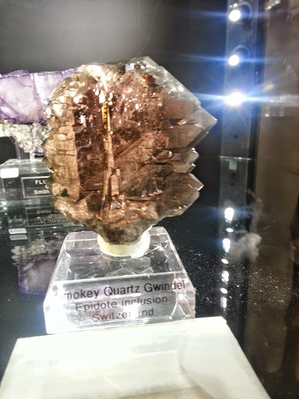 "Smokey Quartz Gwindel in the Pala International Collection at the Fine Mineral Show in the Denver Marriott West.  A fairly rare form of quartz, Gwindels or ""Twisted Quartz"" are formations that are still not fully understood. 
