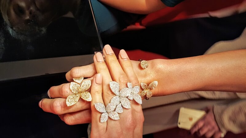 In the Pasquale Bruni Salon a model shows the variations in their floral rings.