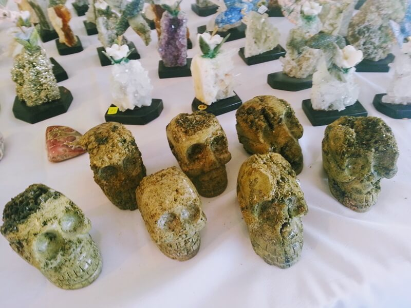 There were skulls in almost every gem material, some very cool but these epidote skulls were a little creepy at the Colorado Mineral & Fossil Fall Show in the Crown Plaza Hotel.
