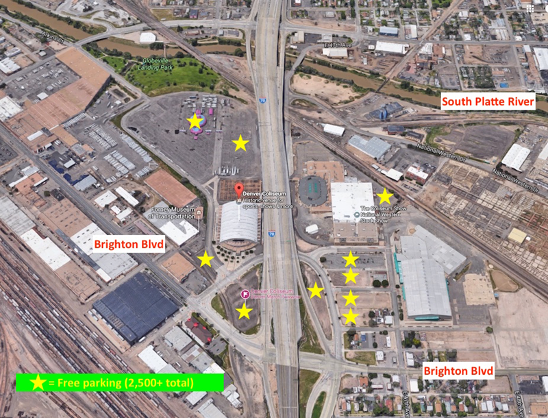This higher altitude view show the parking and the relationship to Brighton Blvd which is undergoing a $1 billion redevelopment.