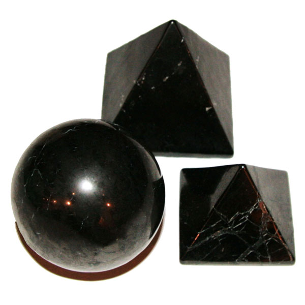 Shungite spheres and pyramids