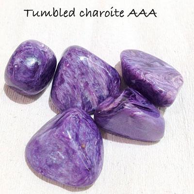 Tumbled charoite, AAA grade