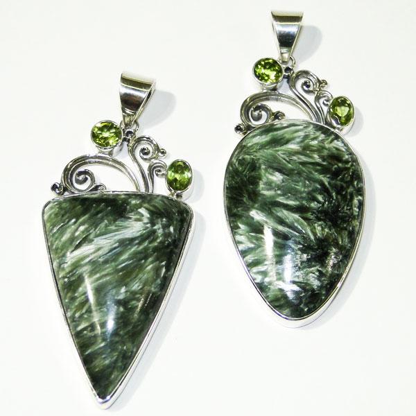 Seraphinite silver pendants