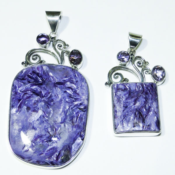 Charoite silver pendants
