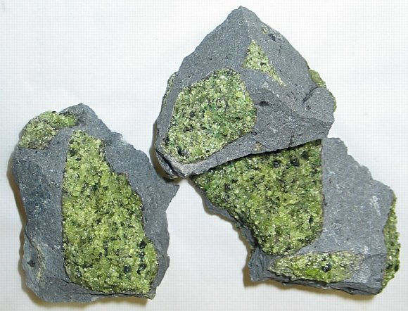 Peridot in Basalt. Locality: Arizona, USA. (Mg,Fe)2SiO4