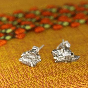 Meteorite Rough Stud Earring