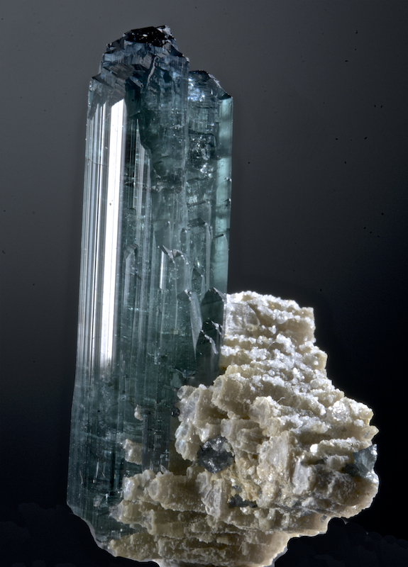 Indicolite - Elbaite on Lepidolite