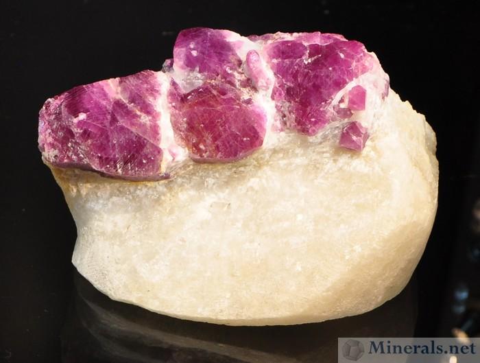 Pink Sapphire in marble matrix from Luc Yen, Vietnam.