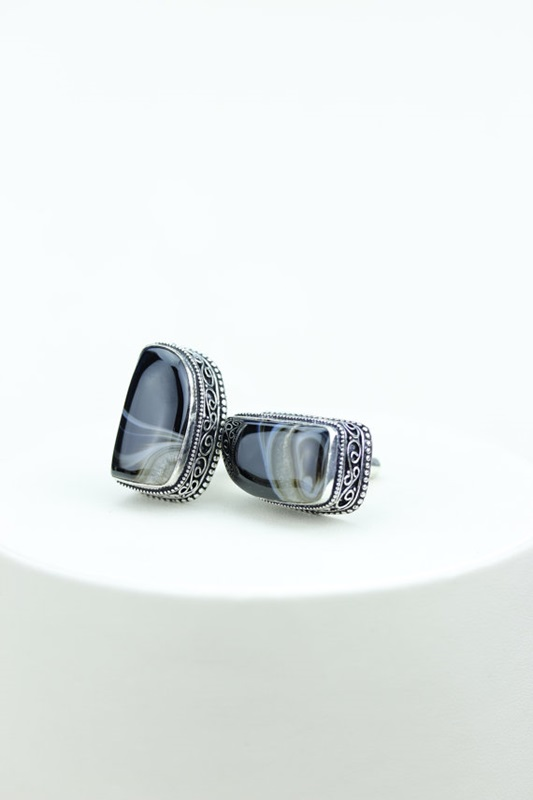 Banded Agate Vintage Filigree Antique Men's / Unisex CUFFLINKS