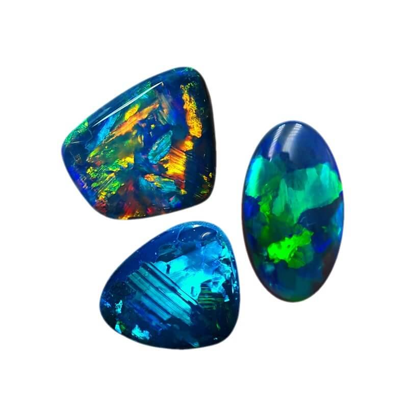 Trio of Black Opals