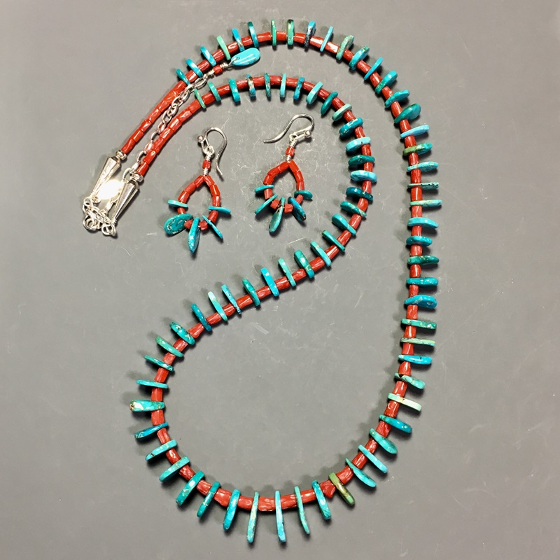 Hand made turquoise beads and jewelry by Richard and Helen Shull