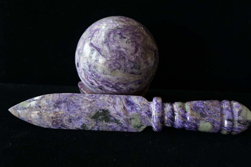 Charoite sphere and dagger